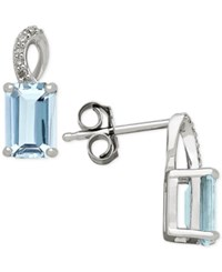 Macy's Aquamarine 1 1 10 Ct. T.W. And Diamond Accent Drop Earrings In 14K White Gold Blue