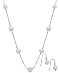 Honora Style Cultured Freshwater Pearl Jewelry Set In Sterling Silver 7 1 2Mm White