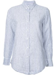 Venroy Button Down Striped Shirt Women Linen Flax M White