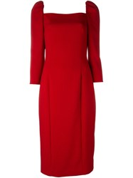 Dolce And Gabbana Puff Shoulder Dress Red