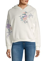 Candc California Embroidered Floral Fleece Jacket Ivory