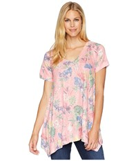 Nally And Millie Pink Floral Sharkbite Tunic Multi Blouse