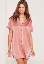 Missguided Floral Embroidery Night Shirt Pink
