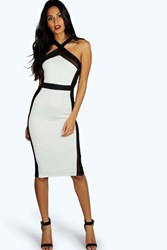 Boohoo Cross Front Mesh Midi Bodycon Dress Black