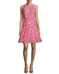 Kate Spade Sleeveless Floral Jacquard Bow Back Dress Pink Multi