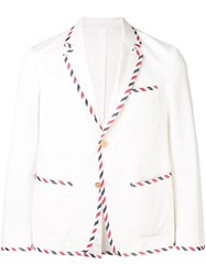 Thom Browne Unconstructed Tux Sack Sport Coat White