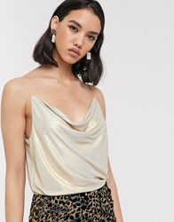 Soaked In Luxury Metallic Cowl Neck Cami Gold