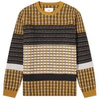Folk Checked Fraction Crew Knit Yellow