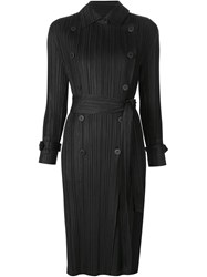 Pleats Please By Issey Miyake Pleated Trench Coat Black
