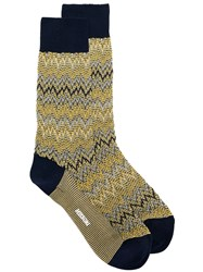 Missoni Zig Zag Knit Socks Yellow And Orange
