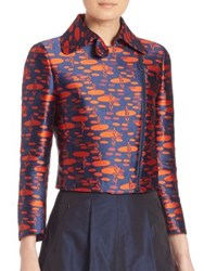 Akris Punto Oval Jacquard Cropped Moto Jacket Navy Rust
