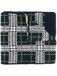 Bally Tartan Knit Scarf Cashmere Wool Green