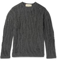 By Walid Distressed Cashmere Blend Sweater Charcoal
