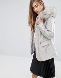 Miss Selfridge Luxe Satin Parka Silver Grey