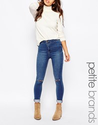 New Look Petite Disco Knee Slash Jean Blue