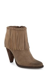 Women's Very Volatile 'Shakee' Fringe Bootie Taupe Faux Leather