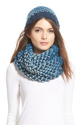 Women's Halogen Ombre Knit Beanie And Infinity Scarf Blue Green Teal Abyss Multi