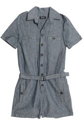 A.P.C. Belted Cotton And Linen Blend Playsuit Mid Denim