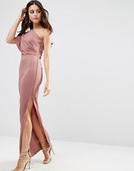 Asos One Shoulder Deep Fold Maxi Dress With Exposed Zip In Scuba Mink Pink