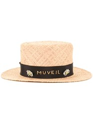 Muveil Branded Band Boater Hat Brown