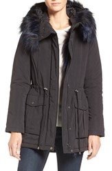 French Connection Women's Microfiber Anorak With Faux Fur Trim Black
