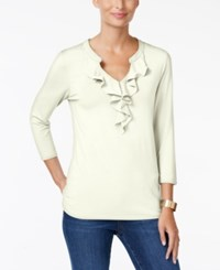 Charter Club Ruffled Split Neck Top Only At Macy's Cloud