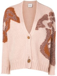Alysi Embroidered Fitted Cardigan Pink And Purple