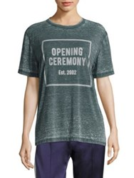 Opening Ceremony Oc Logo Burnout Tee Mineral Green White