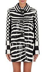 Marc Jacobs Women's Checked And Zebra Print Wool Coat Black