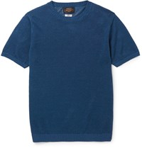 Beams Plus Slim Fit Knitted Linen T Shirt Blue