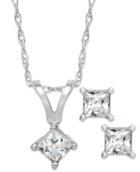 Macy's Princess Cut Diamond Pendant Necklace And Earrings Set In 10K White Or Yellow Gold 1 4 Ct. T.W.