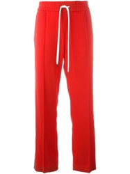 Kenzo Stripe Applique Track Pants Red