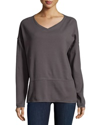 Neon Buddha Long Sleeve V Neck Top Sustainable Charcoal