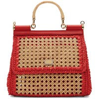 Dolce And Gabbana Beige Red Medium Miss Sicily Bag