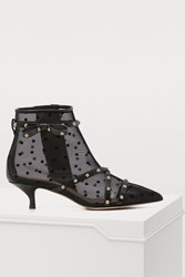 Red Valentino Sheer Polka Dot Pointed Booties Nero