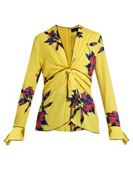 Proenza Schouler Lily Print Knot Front Silk Crepe Top Yellow Multi