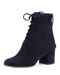 Gianvito Rossi Suede Lace Up Chunky Heel Bootie Denim Blue Women's