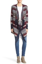 Autumn Cashmere Women's Fair Isle Fringed Drape Front Cardigan