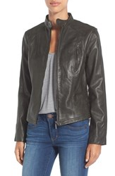 Bernardo Women's 'Kerwin' Belt Detail Leather Jacket Smoke Pine