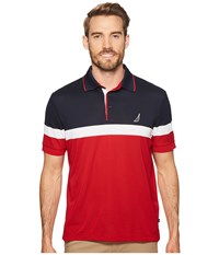 Nautica Color Block Performance Polo Red Short Sleeve Pullover