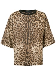 Dolce And Gabbana Oversize Leopard Print T Shirt Brown
