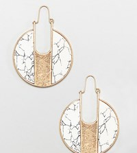 Glamorous Marble Round Earrings Gold