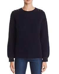Aqua Bead Embellished Chenille Sweater 100 Exclusive Navy