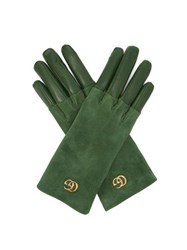 Gucci Gg Plaque Suede And Leather Gloves Green