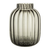 Bloomingville Ridged Clear Glass Vase Grey