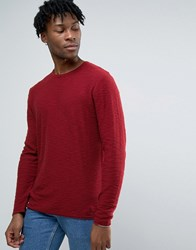 Only And Sons Jumper With Curved Hem Fine Gauge Cabernet Red