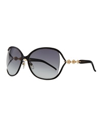 Gucci Metal Sunglasses With Chain Black Gold