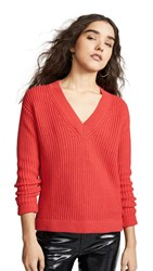 Bop Basics Deep V Sweater Tomato