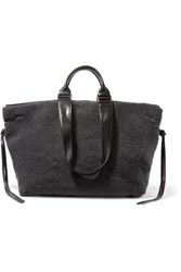 Isabel Marant Wardym Leather Trimmed Shearling Tote Charcoal
