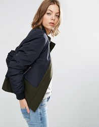 Asos Jacket In Contrast Fabrics With Funnel Neck Multi